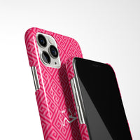 Greek Pattern with Personalised Arabic Name Phone Case - Pink
