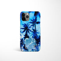 Blue Watercolour Palm tree with Personalised Arabic Name Phone Case