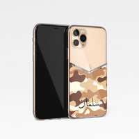 Camouflage V Shape With Personalised Name Clear Phone Case - Desert