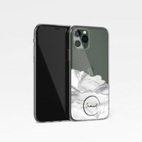 Agate with Personalised Name Clear Phone Case - White