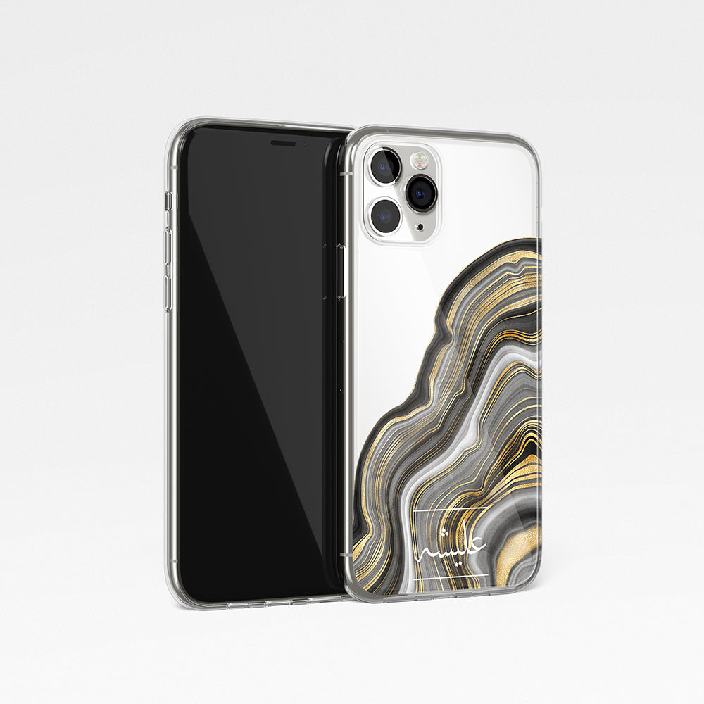 Agate Design with Personalised Arabic Name Clear Phone Case - Gold and grey
