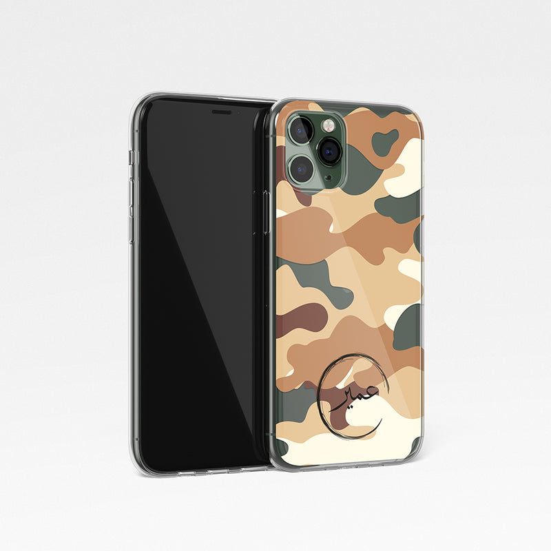 Camouflage With Personalised Name Clear Phone Case - Desert