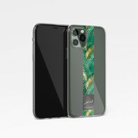 Tropical Green Stripe with Personalised Arabic Name Clear Phone Case
