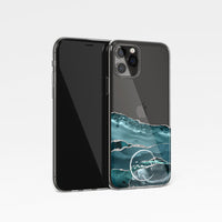 Agate with Personalised Name Clear Phone Case - Teal