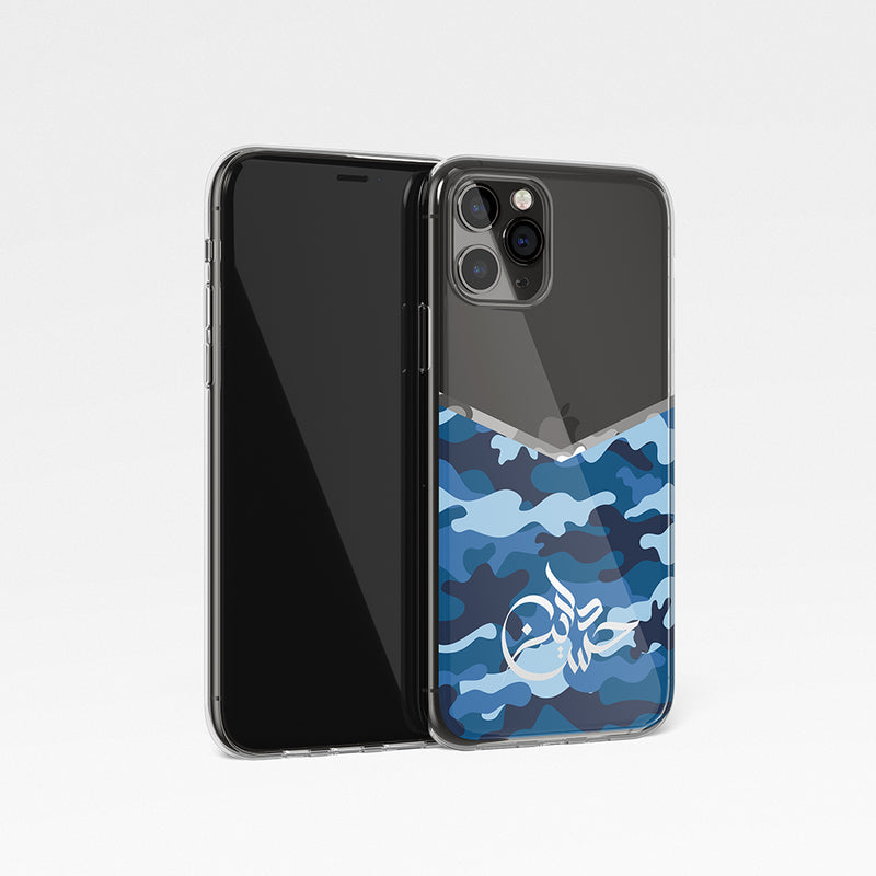 Camouflage V Shape With Personalised Name Clear Phone Case - Blue