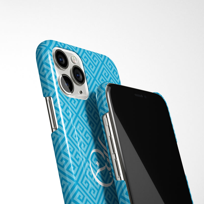 Greek Pattern with Personalised Arabic Name Phone Case - Blue