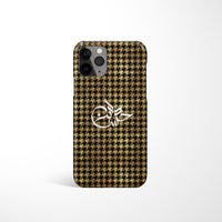 Houndstooth Print with Personalised Arabic Name Phone Case - Gold & Black