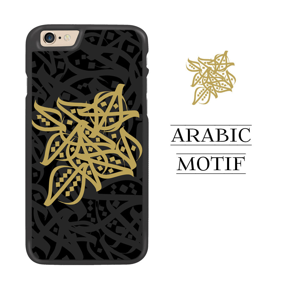 Black with Gold Arabic Motif Designer Phone Case by Zaman Arts - Zing Cases
