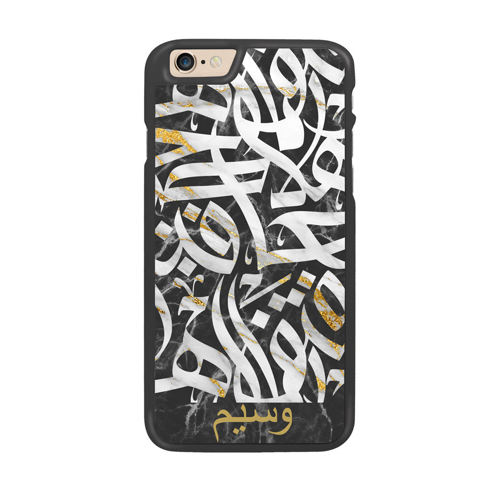 Black Gold Marble with Personalized Arabic Calligraphy by Asad Designer Phone Case