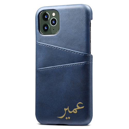 Blue with Gold Arabic Name Personalised Card Holder Phone Case