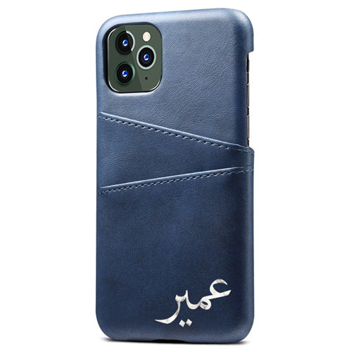 Blue with Marble Arabic Name Personalised Card Holder Phone Case