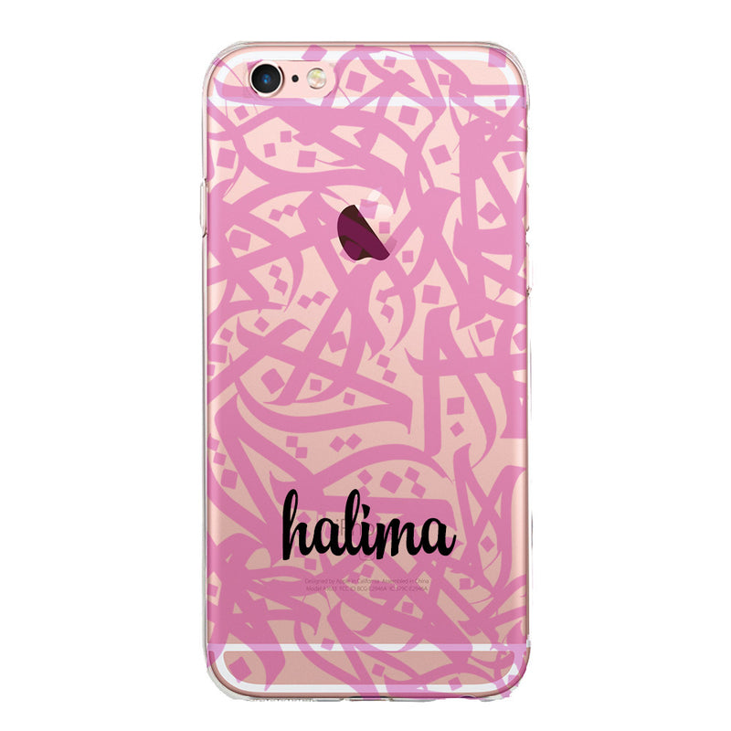 Personalised Name Clear Jelly Gel Case with Pink Arabic Calligraphy by Zaman Arts