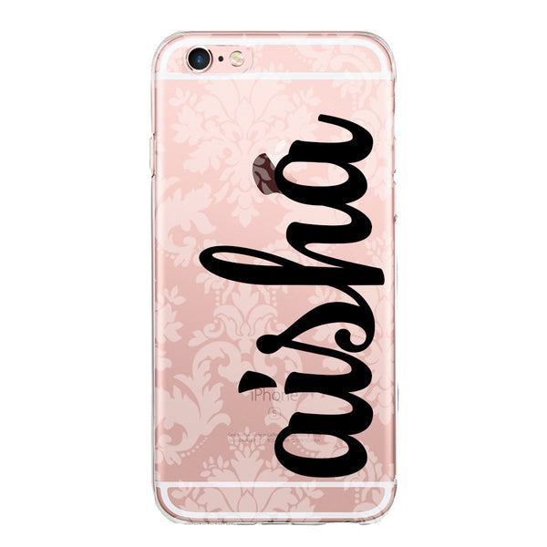 Personalised Name Clear Jelly Gel Case with Damask Print