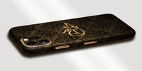 Damask Design Decal Skin With Personalised Arabic Name Phone Wrap - Dark Brown