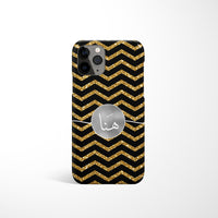 Chevron Print with Personalised Arabic Name Phone Case - Gold and Black