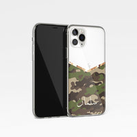 Camouflage V Shape With Personalised Name Clear Phone Case - Khaki
