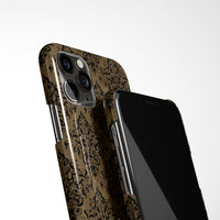 Damask Print With Personalised Arabic Name Phone Case - Gold and Black