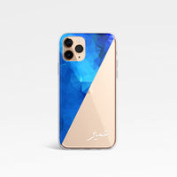Blue Diagonal Geometric Personalised Name Phone Case