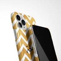 Gold and White Chevron with Personalised Arabic Name Phone