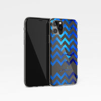 Blue Chevron Personalised Name Clear Phone Case
