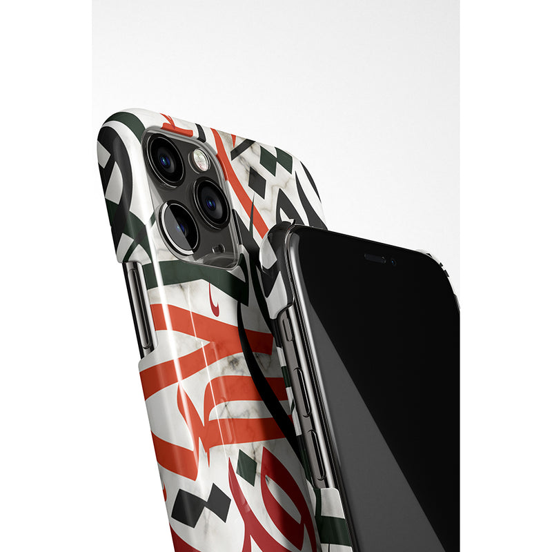 Marble with Colour Arabic Calligraphy by Asad Phone Case