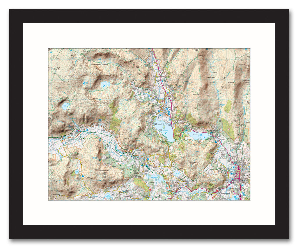 Framed Map - Custom Ordnance Survey Explorer Map with Hillshading Framed Print- Love Maps On...