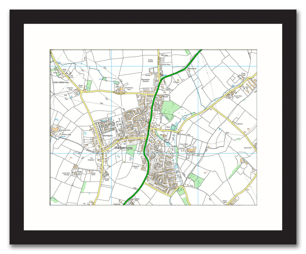 Framed Map - Custom Ordnance Survey Street Map - High Detail