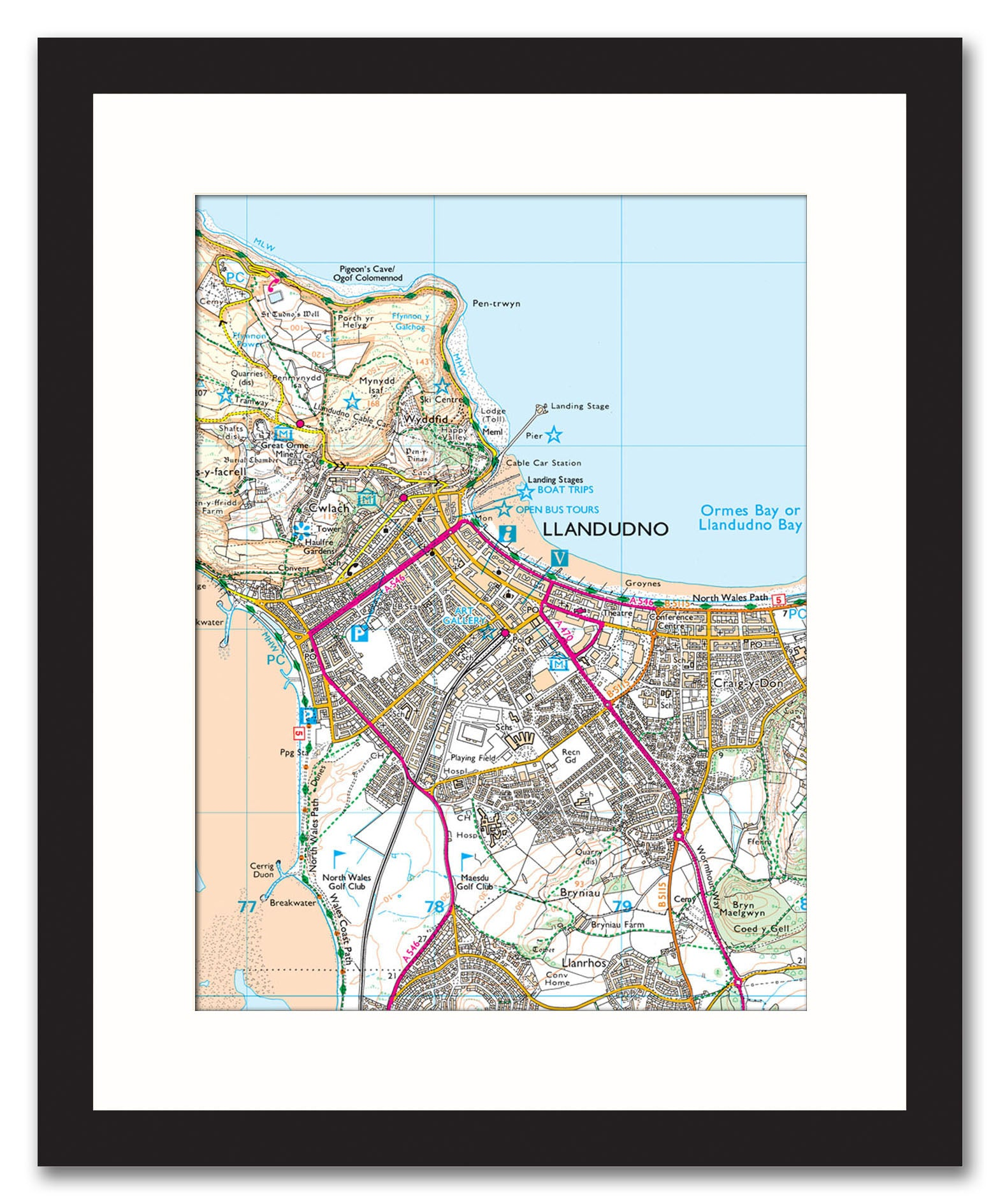 Framed Map Custom Ordnance Survey Explorer Map from Love Maps