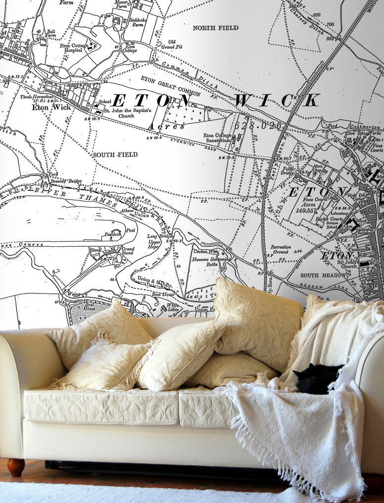 Map Wallpaper - Custom Vintage Ordnance Survey Map - Victorian Street Map - Love Maps On... - 1