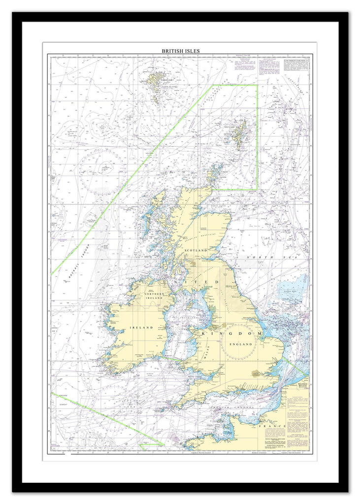 Framed Nautical Chart - Admiralty Chart 2 - British Isles