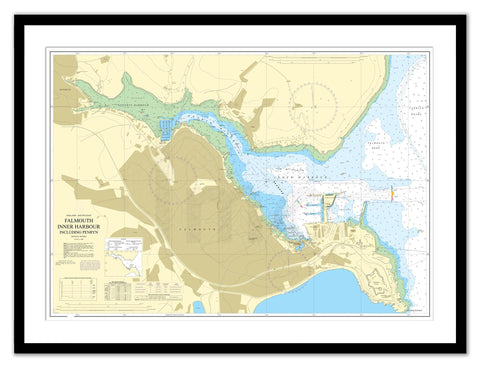 Framed Nautical Chart - Admiralty Chart 18 - Falmouth Inner Harbour including Penryn
