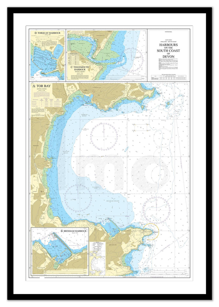 Framed Nautical Chart - Admiralty Chart 26 - Harbours on the South Coast of Devon