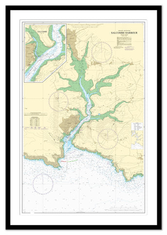 Framed Nautical Chart - Admiralty Chart 28 - Salcombe Harbour