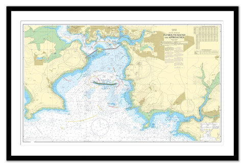 Framed Nautical Chart - Admiralty Chart 30 - Plymouth Sound and Approaches