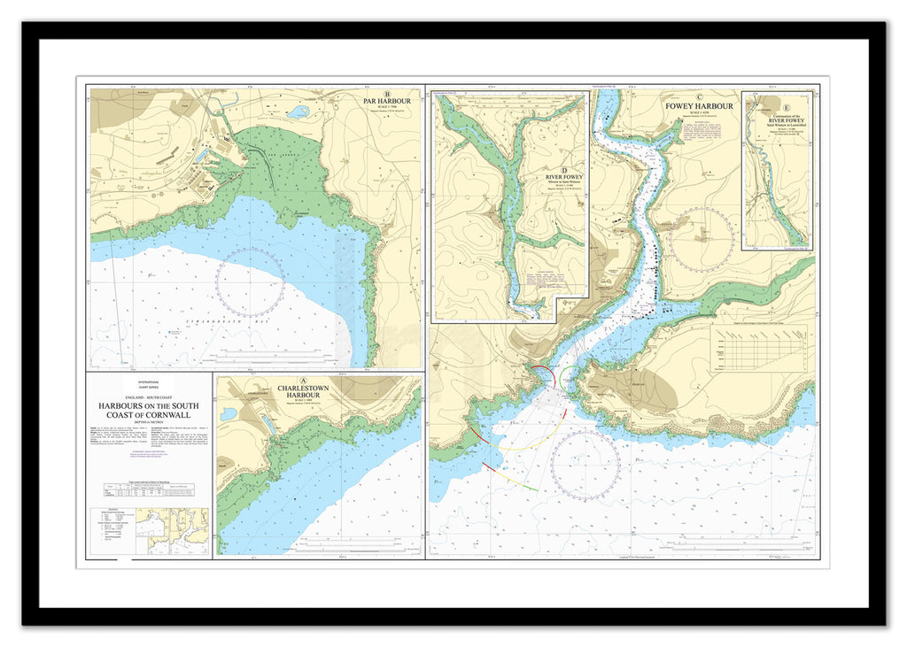 Framed Nautical Chart - Admiralty Chart 31 - Harbours on the South Coast of Cornwall