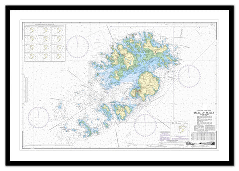 Framed Nautical Chart - Admiralty Chart 34 - Isles of Scilly