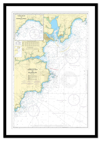 Framed Nautical Chart - Admiralty Chart 154 - Approaches to Falmouth.