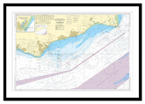 Framed Nautical Chart - Admiralty Chart 536 - Beachy Head to Dungeness