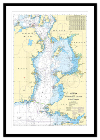 Framed Nautical Chart - Admiralty Chart 1121 - Irish Sea with Saint George's Channel and North Channel