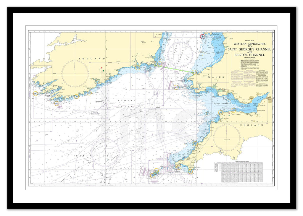 Framed Nautical Chart - Admiralty Chart 1123 - Western Approaches to St George's Channel & Bristol Channel