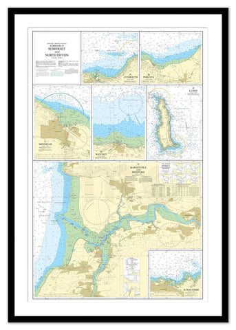 Framed Nautical Chart - Admiralty Chart 1160 - Harbours in Somerset and North Devon