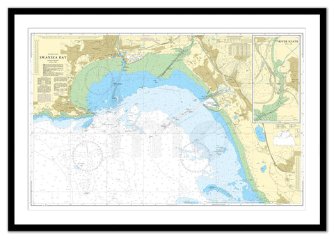 Framed Nautical Chart - Admiralty Chart 1161 - Swansea Bay