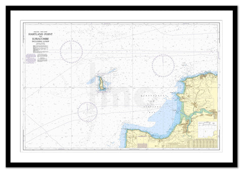 Framed Nautical Chart - Admiralty Chart 1164 - Hartland Point to Ilfracombe including Lundy