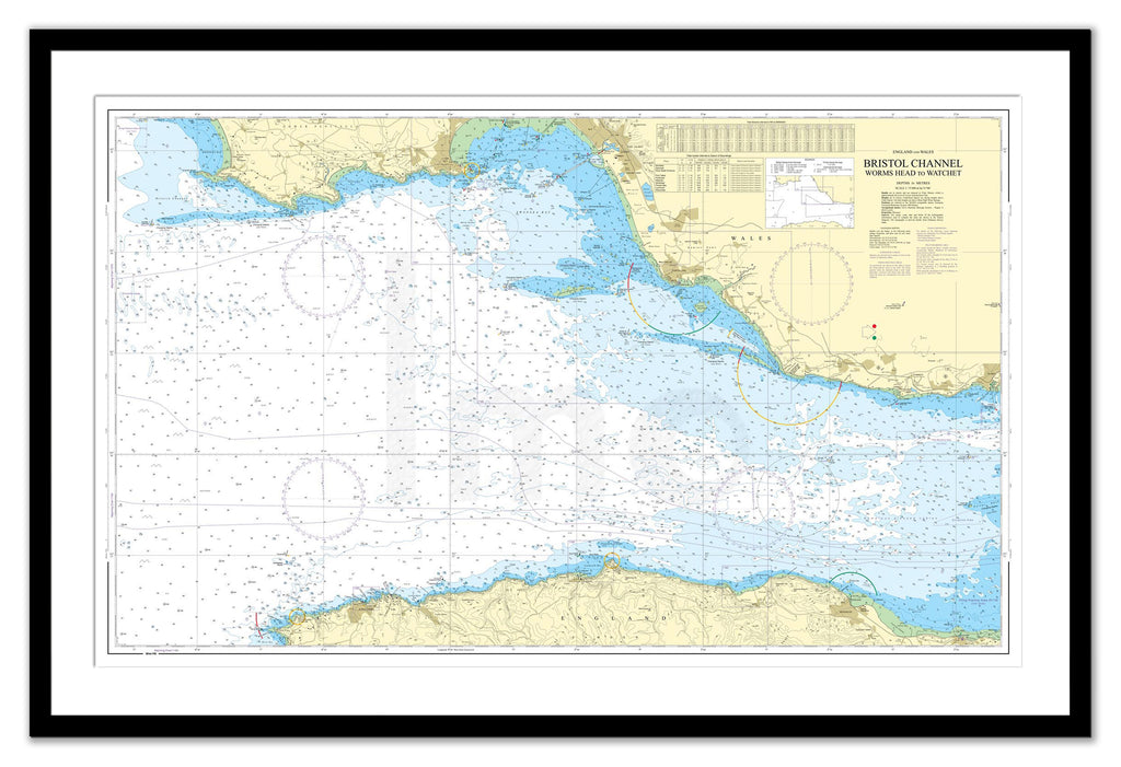 Framed Nautical Chart - Admiralty Chart 1165 - Bristol Channel Worms Head to Watchet