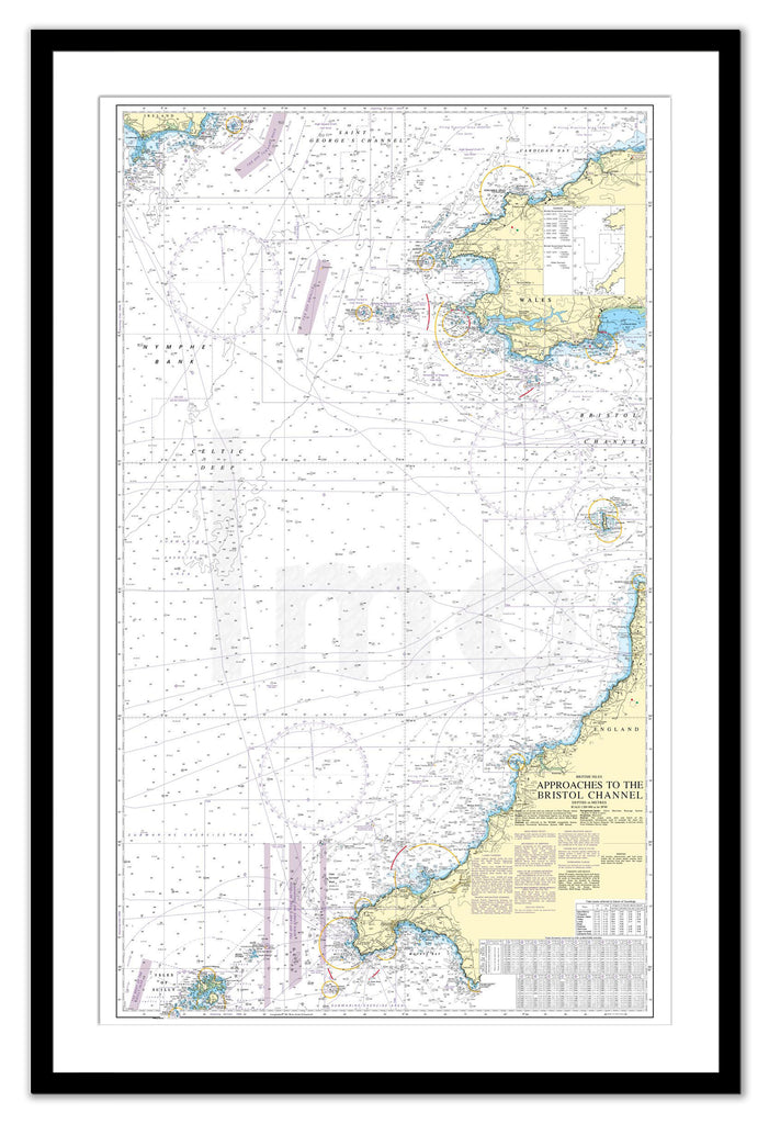 Framed Nautical Chart - Admiralty Chart 1178 - Approaches to the Bristol Channel