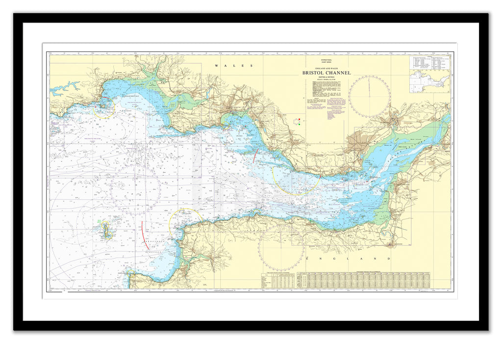 Framed Nautical Chart - Admiralty Chart 1179 - Bristol Channel