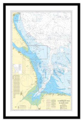 Framed Nautical Chart - Admiralty Chart 1190 - Flamborough Head to Blakeney Point.
