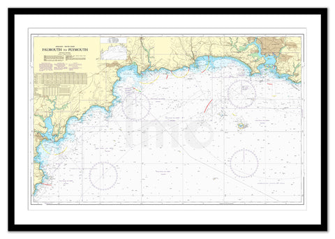 Framed Nautical Chart - Admiralty Chart 1267 - Falmouth to Plymouth