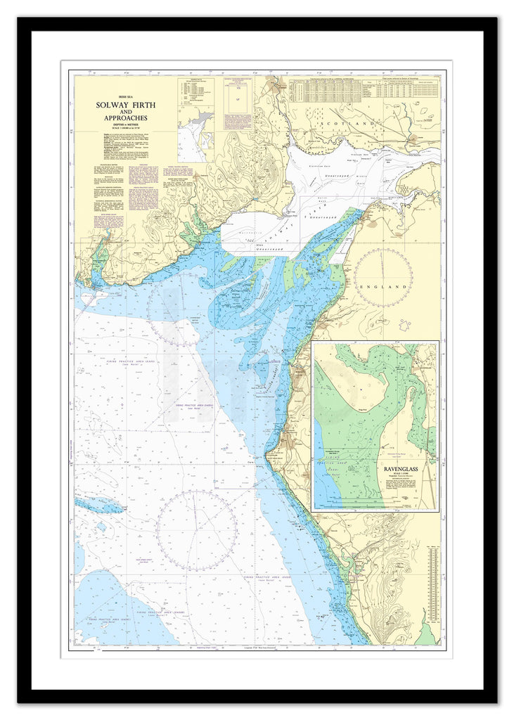 Framed Nautical Chart - Admiralty Chart 1346 - Solway Firth and Approaches