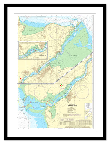 Framed Nautical Chart - Admiralty Chart 1464 - Menai Strait